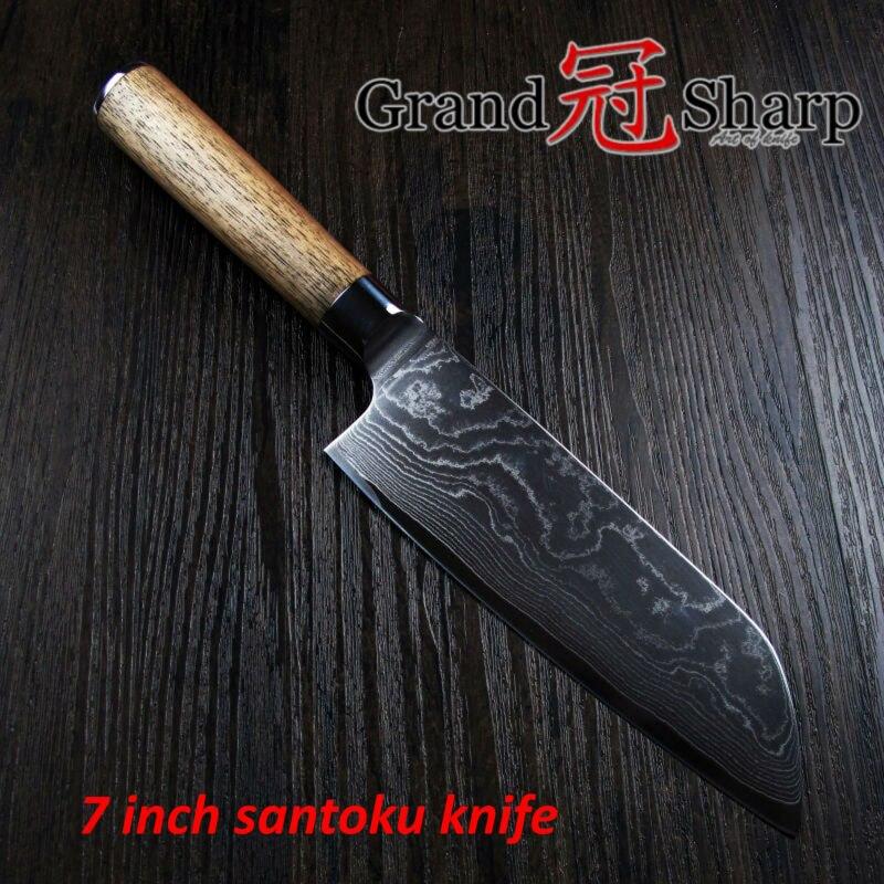 GRANDSHARP 7 inch Santoku font b Knife b font 67 layers Japanese Damascus Steel VG 10