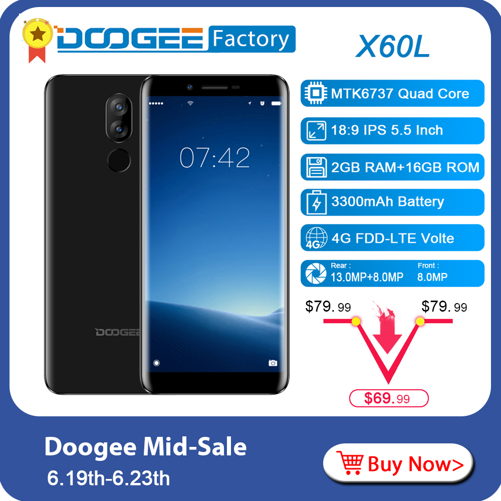 DOOGEE X60L 5 5 inch 2GB 16GB 4G LTE Smartphone Dual Camera 13 0MP Android 7