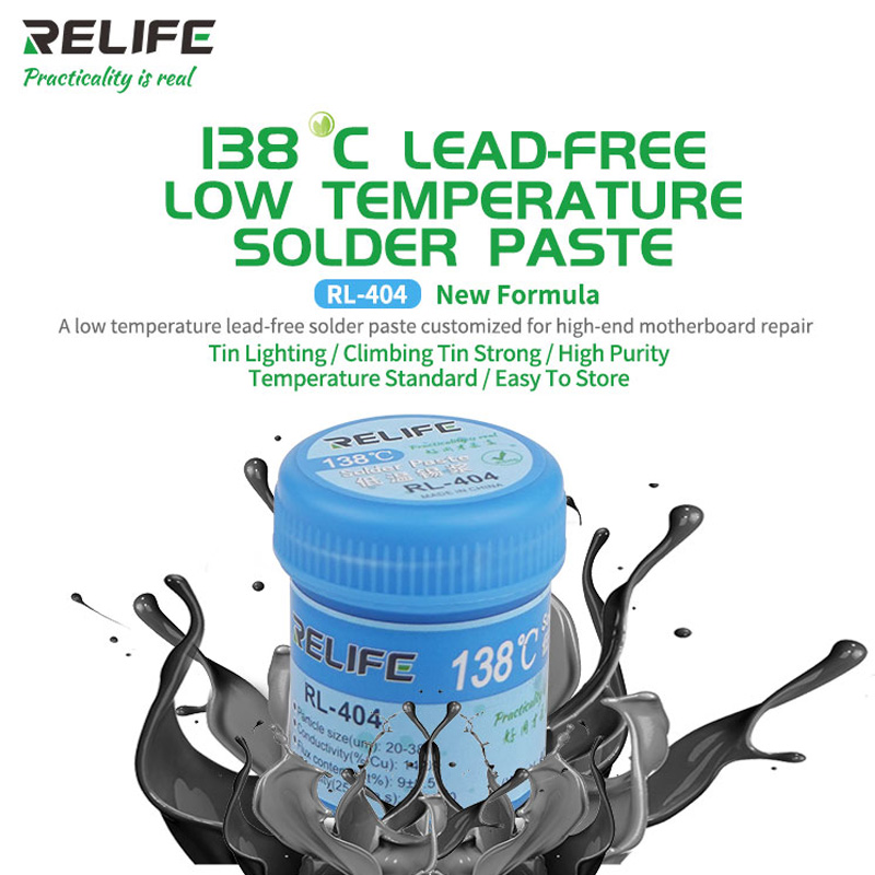 RELIFE RL- 404 138°C Low Temperature Solder Paste For IPHONE X XS XSMAX Lead-free Tin Pulp