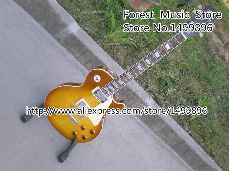 Skinnerburst Flame Top LP Standard Model Electric Guitarra with Silver Hardware Left Handed Available from China Factory high quality vintage green lp custom model electric china guitar with gold hardware left handed available