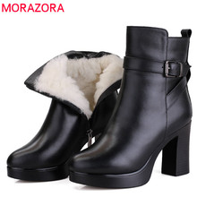 MORAZORA 2020 Genuine Leather Natural Wool Winter Boots fashion ankle boots women platform boots high heels snow boots female