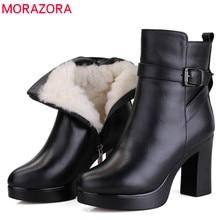 Morazora Nam Da Thật 2020 Chính Hãng Da Tự Nhiên LEN MÙA ĐÔNG Giày Bốt Thời Trang Mắt Cá Chân Giày Bốt Nữ Đế Giày Cao Gót Ủng Nữ