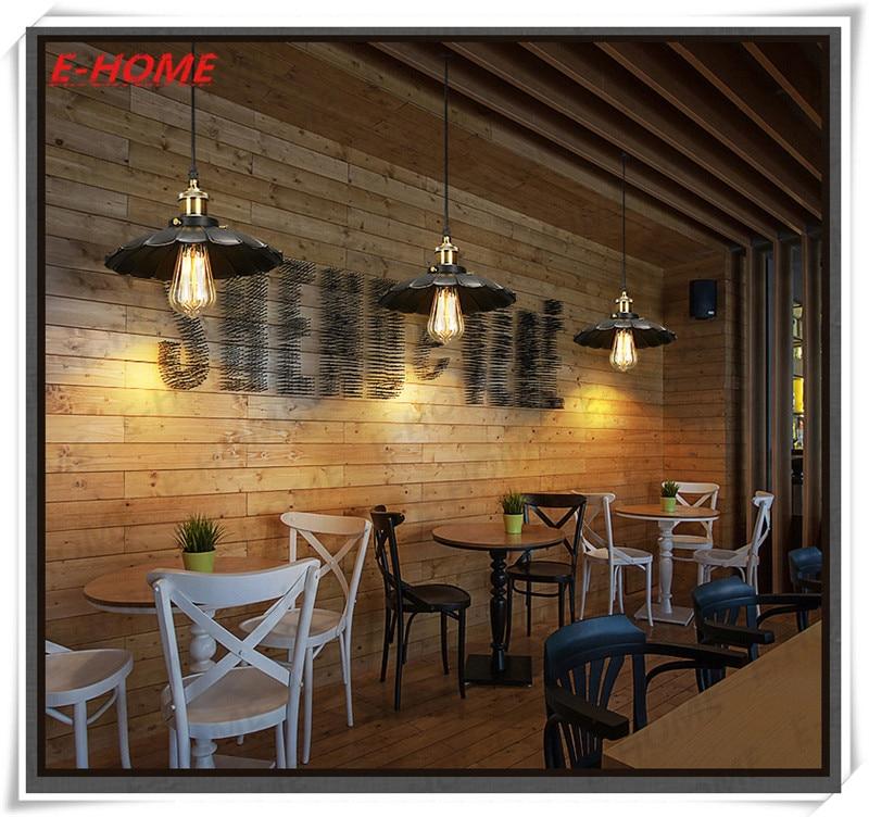 ФОТО American country wrought iron chandelier vintage industrial style bar restaurant Edison light bulb chandelier small umbrella