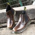 Большой размер весна осень открытый кожа мужчины сапоги высокий верх черный коричневый платформа случайные рабочие ботинки