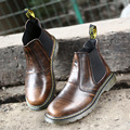 Big size spring autumn outdoor leather men boots high top black brown platform casual work boots
