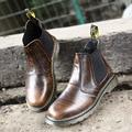 De gran tamaño otoño primavera hombres de cuero al aire libre botas de plataforma high top negro marrón botas de trabajo informal