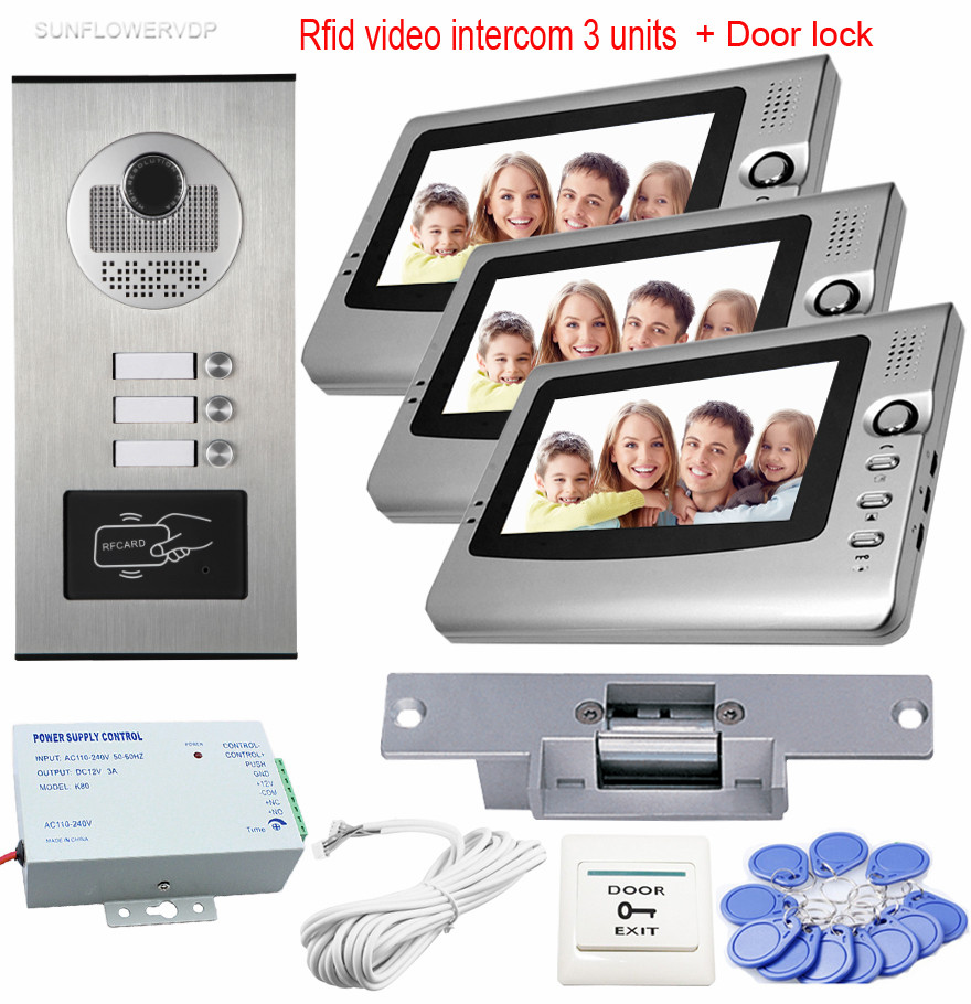 Access 7 Rfid Video Call Intercoms Video Doorbell Video-Eye Video Intercoms 3 Monitors For 3 Apartments With Electric Door Lock wireless service call bell system popular in restaurant ce passed 433 92mhz full equipment watch pager 1 watch 7 call button