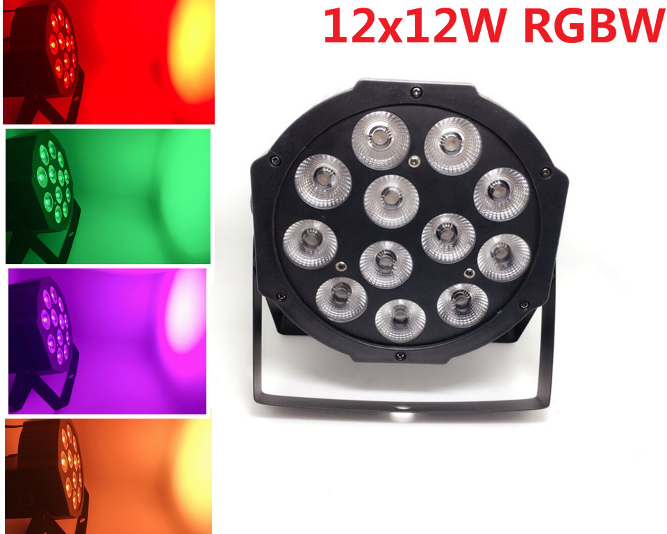 RGBW 4in1 12x12W led par DMX Stage Lights Business Led Flat Par High Power Light with Professional for Party KTV Disco DJ 2pcs dj disco par led 54x3w stage light dmx strobe flat luces discoteca party lights laser rgbw luz de projector lumiere control
