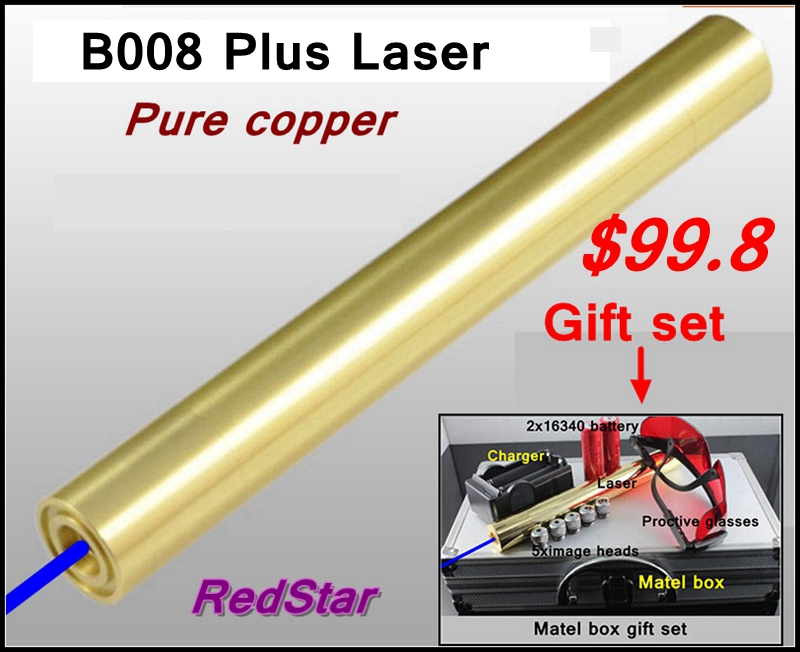 [ReadStar]RedStar B008 Plus high burn match Copper Blue Laser pointer Gold plating metalbox include 2x16340 battery & charger