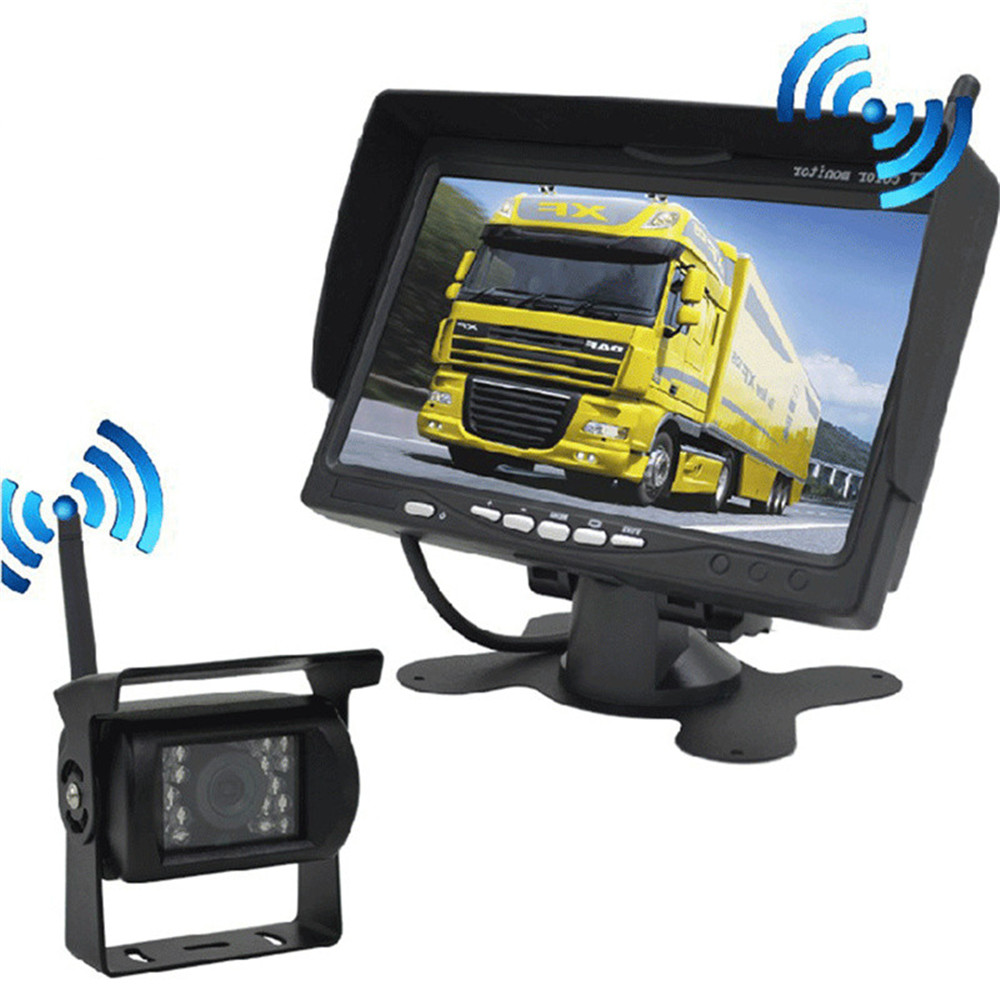 12V/24V <font><b>7</b></font> <font><b>inch</b></font> TFT LCD Wireless Rear View <font><b>Monitor</b></font> CMOS IR Night Vision 170 degree Backup Camera Kit Parking System image