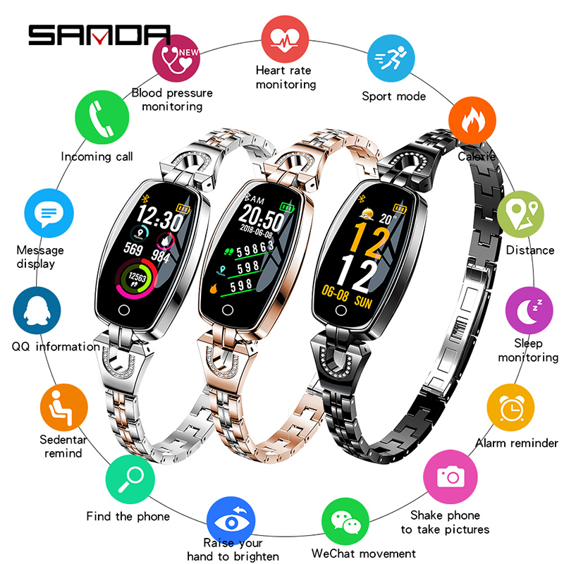 SANDA Women Fashion Smart Bracelet Watch Bluetooth Blood Pressure Heart Rate Sleep Monitor Pedometer Smartwatch for Android iOSSANDA Women Fashion Smart Bracelet Watch Bluetooth Blood Pressure Heart Rate Sleep Monitor Pedometer Smartwatch for Android iOS