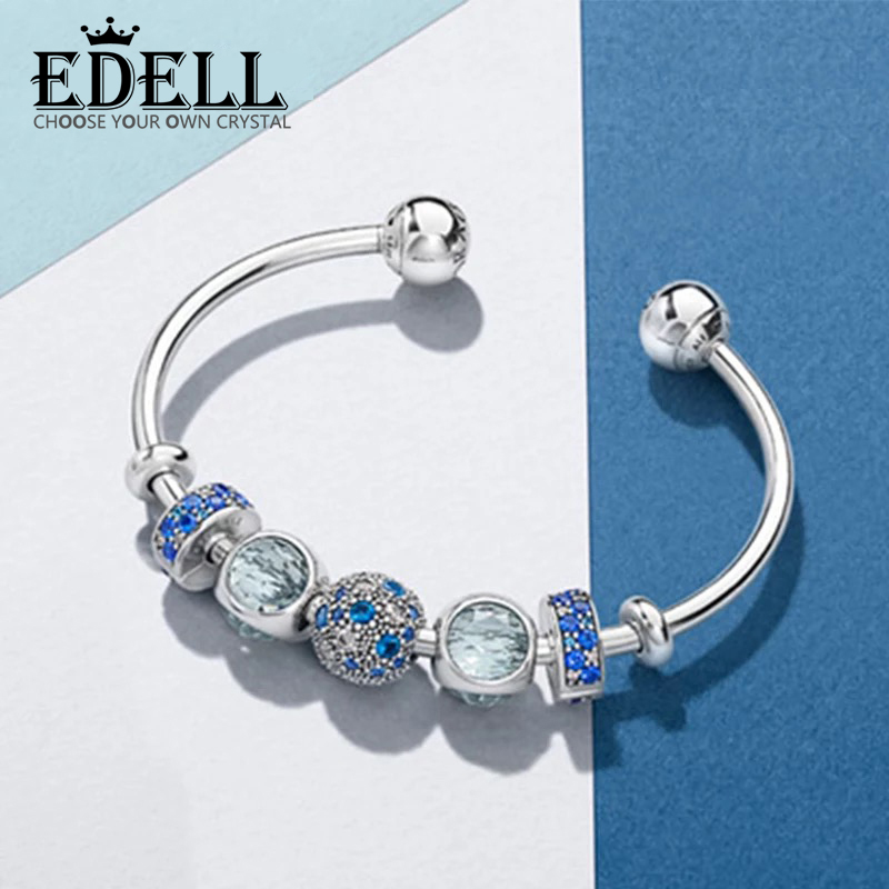 EDELL Original 100% 925 Sterling Silver Moments 925 Silver Open Bracelet Set To Send woman Gift Adjustable Bracelet & Bangle