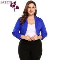 ACEVOG Plus Size XL-5XL Vrouwen Korte Schouderophalen Herfst Trui Tops Big Size 3/4 Mouw Cropped Bolero Party Feminino Zwart Vest
