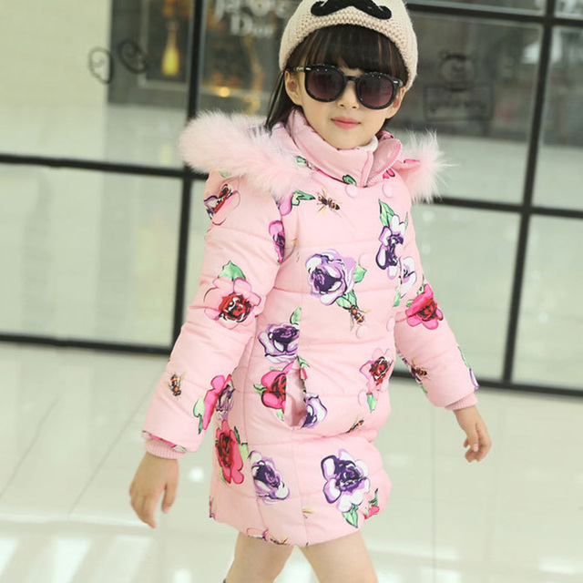 2016 New Fsahion Winter Long Tench Coat for Girls Flower Medium-long Children Clothing Cotton-padded Jacket with Fur Hood