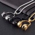 DJ Auriculares de Música de La Joyería Colgante de Collar de Acero Inoxidable de Plata, oro, negro