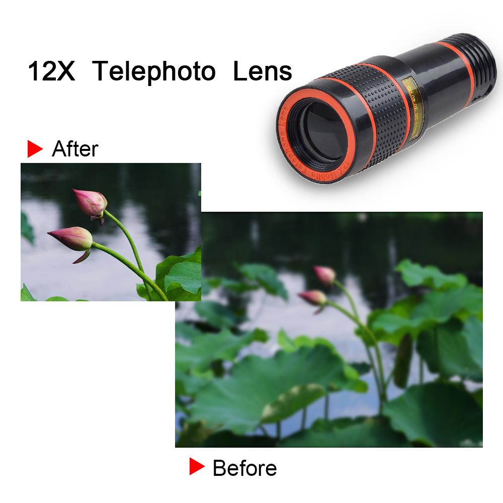 APEXEL 6IN1 phone camera lens 12X Telescope telephoto Zoom+fisheye wide angle macro Lens kit For iPhone7 6S plus Samsung s8 3