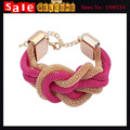 3pcs Statement Gold Plated Twisted Braided Alloy Chain Knitted Chunky Big Large Bracelets & Bangles for Women Men Jewelry