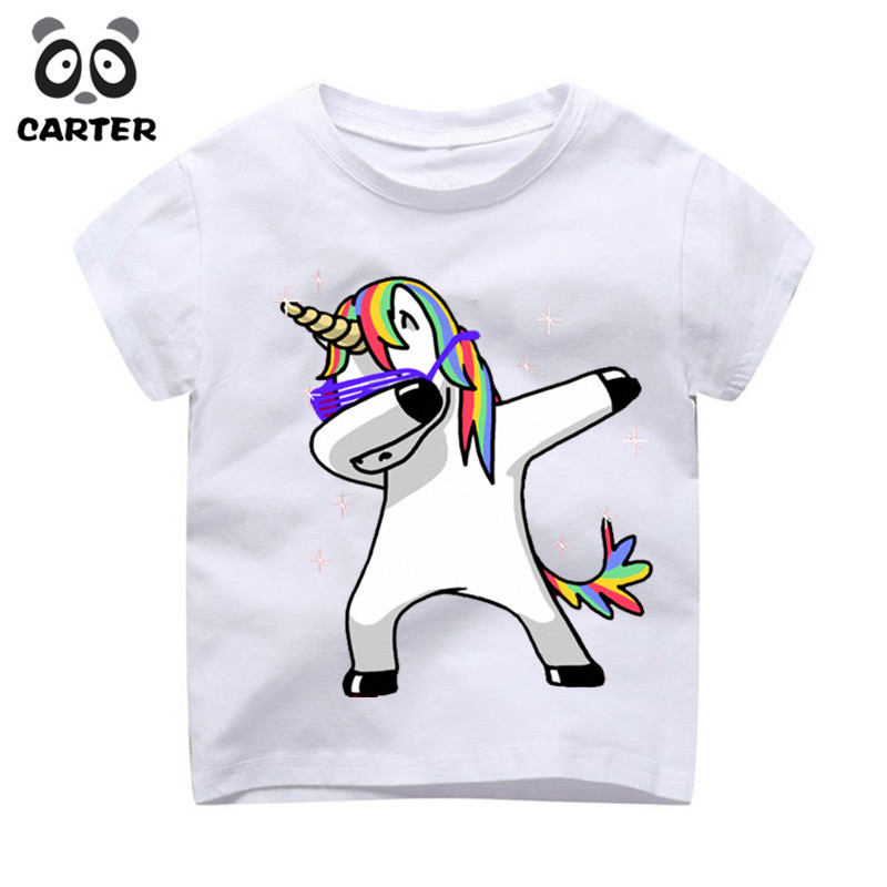 Kid's Dabbing Unicorn Cartoon T-Shirts Boys/Girls Funny Tops T Shirt Children Cool Rabbit/Cat/Pug Baby Casual Clothes,HKP2081