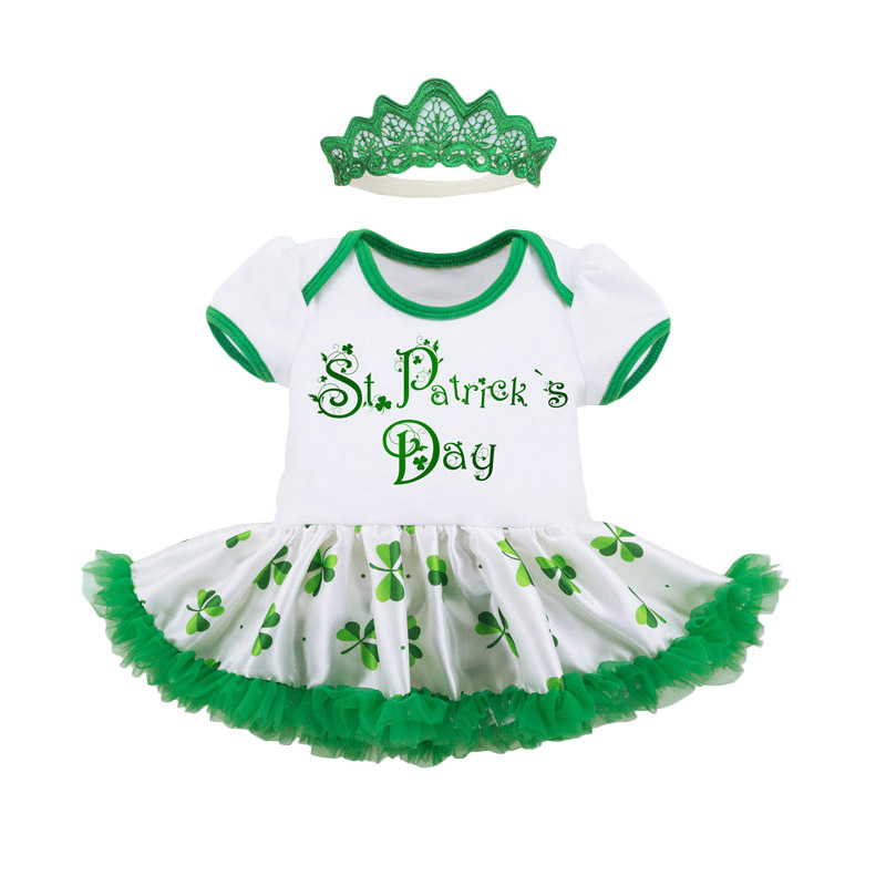 Bebes Clothing Sets 2Pcs St Patricks Day Short Sleeve Romper Tutu Dress + Headband Festival Girls Sets Kids Clothes Costume new baby girl clothing sets lace tutu romper dress jumpersuit headband 2pcs set bebes infant 1st birthday superman costumes 0 2t