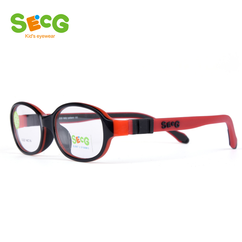 SECG Solid Flexible Detachable Children Frame Transparent Round Kids Optical Glasses Frame Silicone Rubber With Strap Lunettes