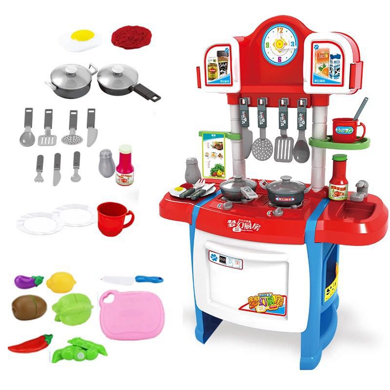 37Pcs/Set Kids Kitchen Toys Set Cooking Toy Play For Children Pretend Play Cooking Simulation Multifunctional Table New Sale