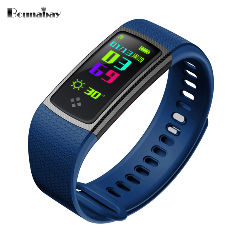 BOUNABAY Heart Rate Pedometer Bluetooth 4.0 Smart woman watch for apple android phone waterproof Clock Touch Screen women Clocks