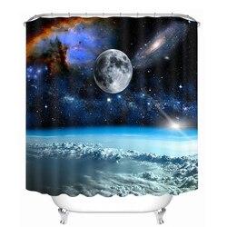 Nowe zasłony prysznicowe 3D 7 Big Planet Space System wzór wodoodporne tkaniny produkty łazienkowe zasłony zmywalne kurtyny kąpielowe