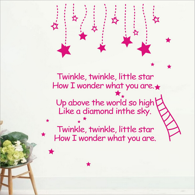Free Shipping Twinkle Twinkle Little Star...Romantic Poem Quotes Living Room DIY Vinyl Wall Decal Stickers For Home Decor