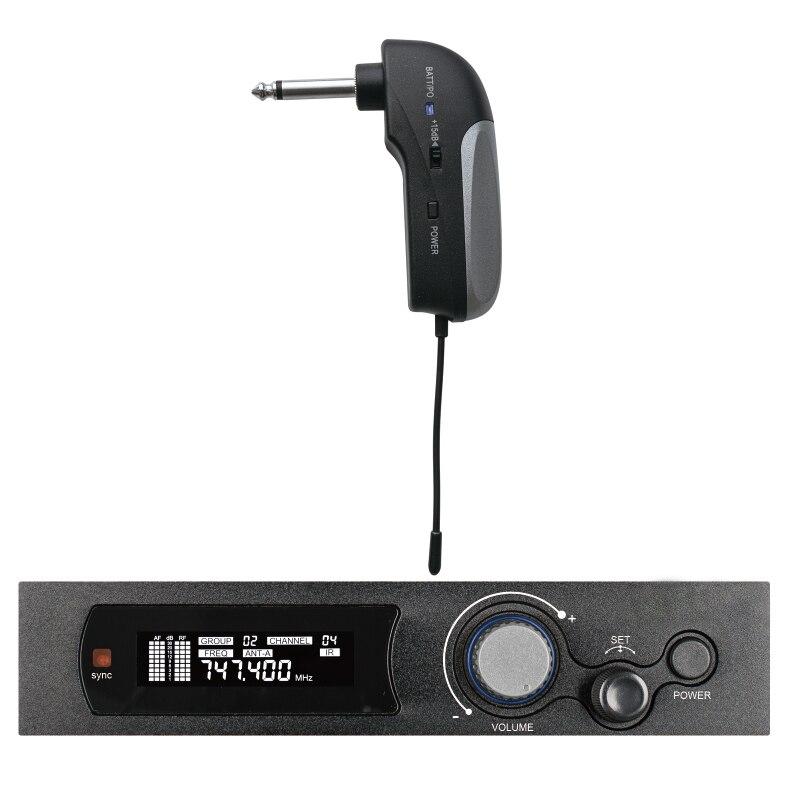 Véritable diversité UHF guitare sans fil système Audio de basse 100 fréquence sélectionnable Microphone sans fil pour Instrument de guitare électrique