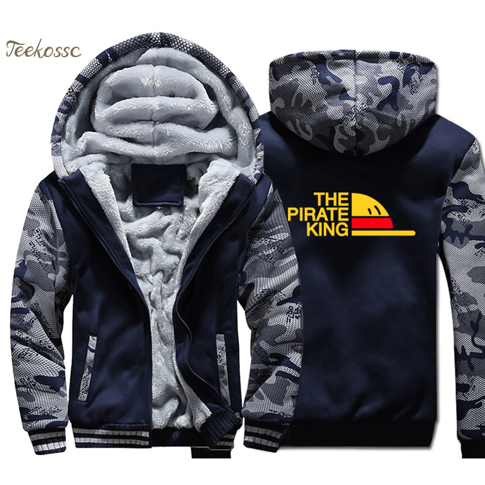 One Piece Hoodie Men The Pirate King Hooded Sweatshirt Coat Winter Warm Fleece Thick High Quality Anime Jacket Luffy Streetwear