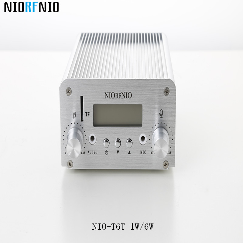 Free Shipping NIO-T6T 6W Professional Signal Amplifier for Cable TV with TF Card Maximum Supported 128G free shipping nio t6t 1w 6w stereo audio fm amplifier kit professional transmitter with tf card
