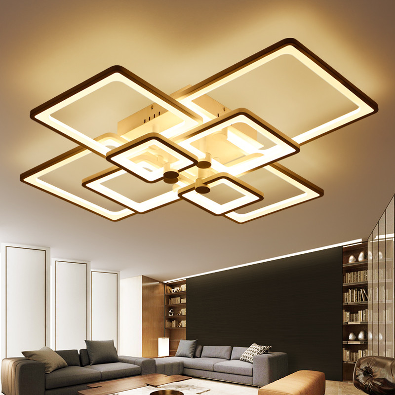new square rings designer modern led ceiling lights lamp for living room lobby kitchen remote. Black Bedroom Furniture Sets. Home Design Ideas