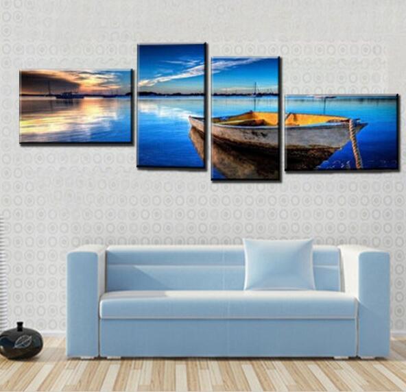 4 Panel Oceaan Olieverf Handgeschilderde Goedkope Moderne ...