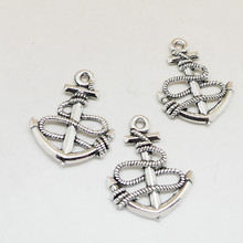 10pcs 25x20mm DIY Vintage Silver Anchor Charms Pendant For Necklace Bracelet Keychain Jewelry Trinket Accessories Wholesale