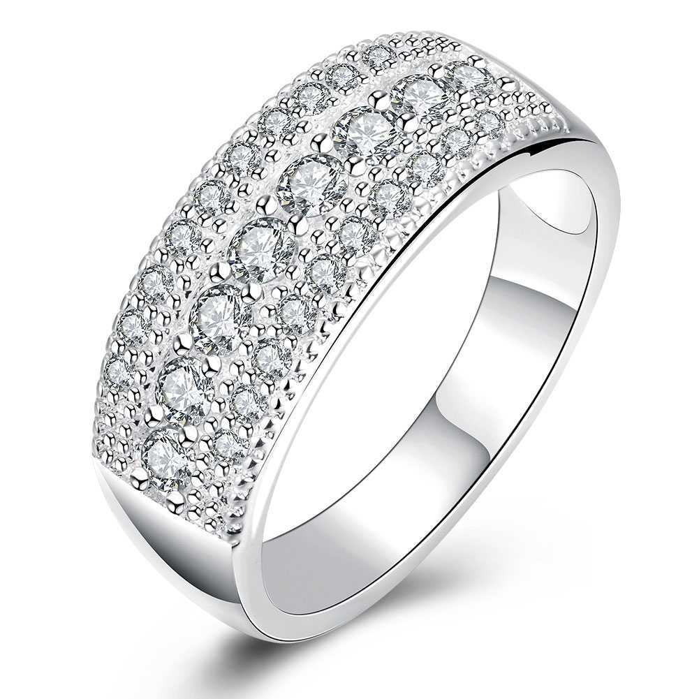 Latest Pure Authentic  925  Ring Bling Bling Full CZ Cubic Zircon Rings Woman Man Wedding Engagement Fashion Jewelry