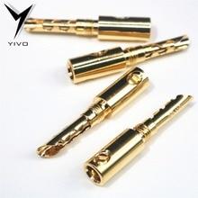 YIVO clavijas eléctricas chapadas en oro, Conector de clavija de plátano, 5mm, bricolaje, HIFI, 8 Uds.