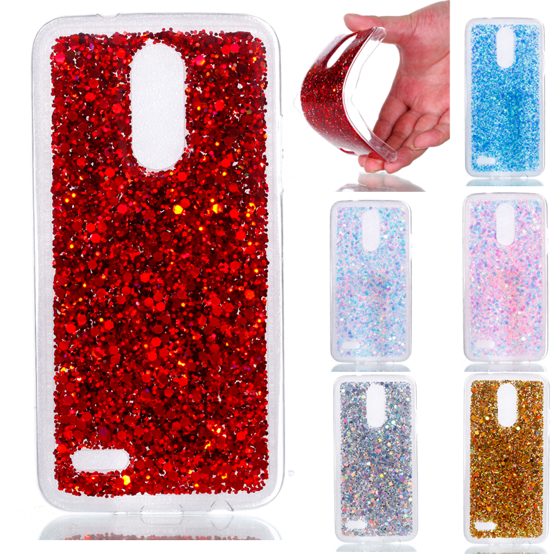Fashion Bling Shining Powder Sequins Case For LG K8 2017 X240 X 240 LGK8 Silicone Glitter Cover Back For LG K 8 2017 Phone Case in Fitted Cases from Cellphones Telecommunications