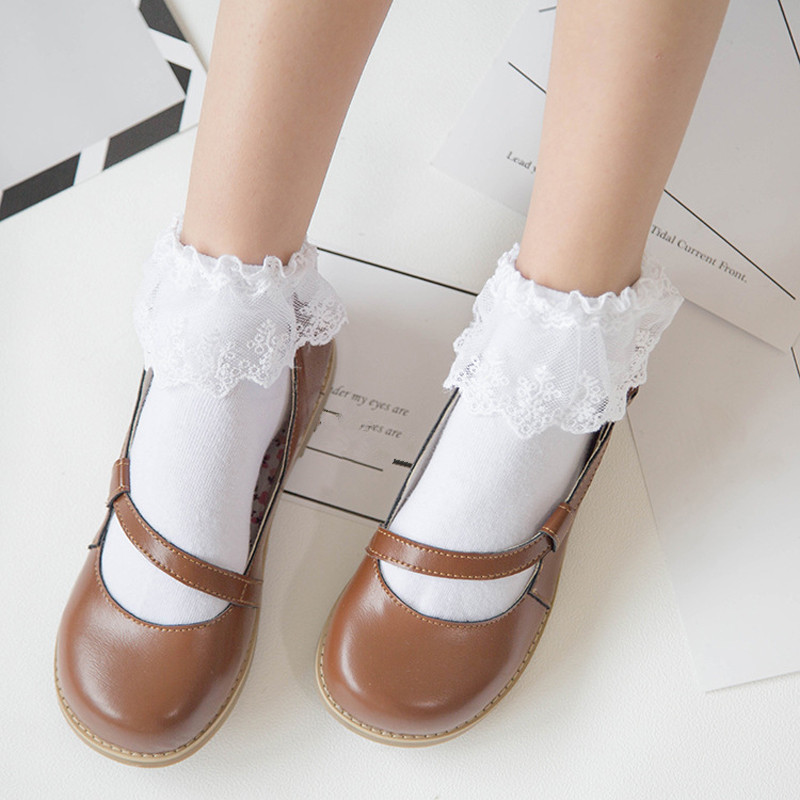 Women Harajuku Sweet Retro Lace Short   Socks   Lolita Frilly Ruffle Cotton Princess   Socks   Girls Soft Comfortable Solid Ankle   Socks
