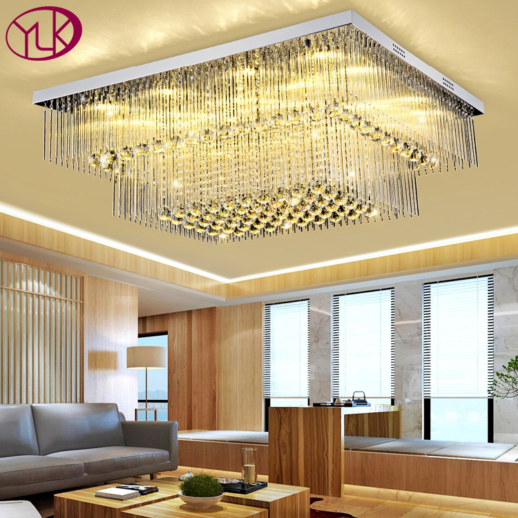 New Modern 2 layers rectangle crystal lamp living room bedroom crystal ceiling lights LED Lustre Cristal Home Lighting Fixture недорго, оригинальная цена