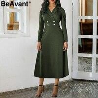 BeAvant Office lady long sleeve winter dress Women casual button high waist dress elegant A line autumn dress female vestidos