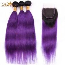 ★  T1b Фиолетовый Ombre Перуанские Прямые Пучки Волос С Закрытием Пучки Человеческих Волос