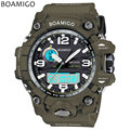 men sports watches dual display analog digital LED Electronic quartz watches BOAMIGO brand 50M water resistant swimming watches