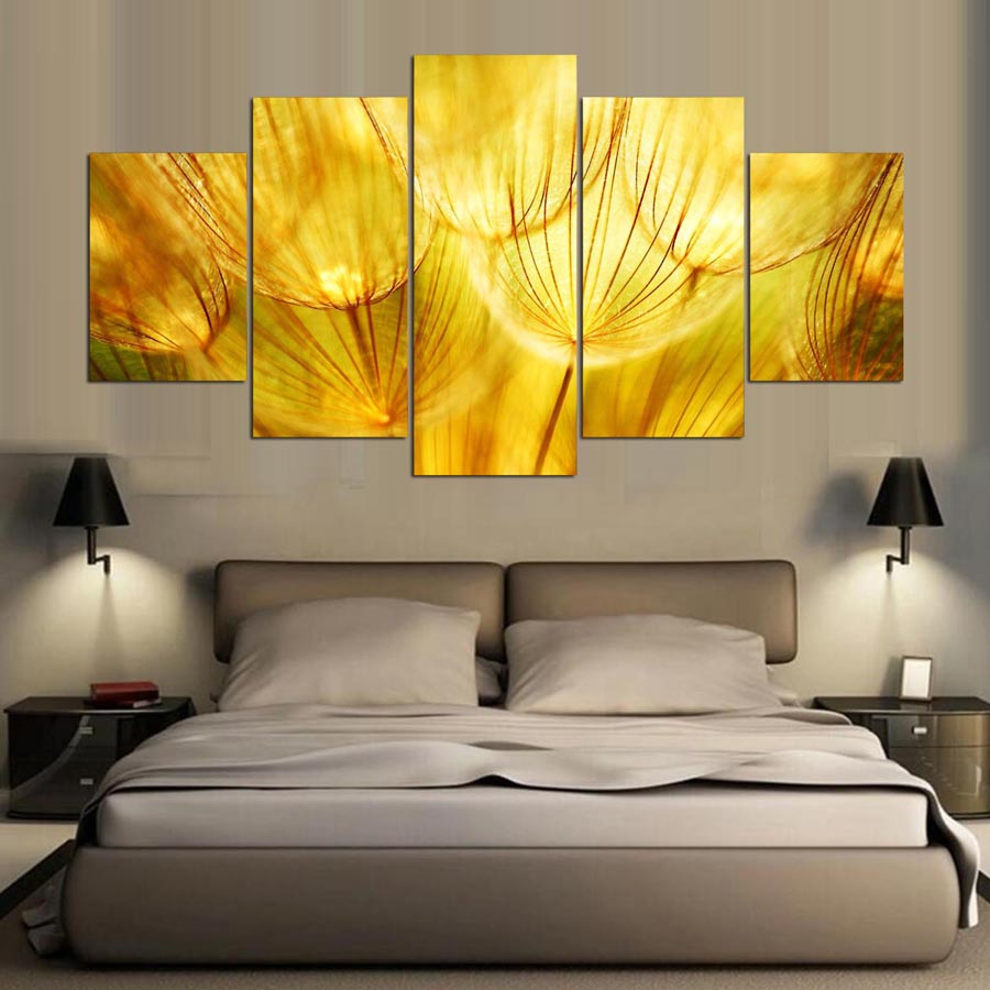 DAFENJINGMO ARTS 5 Panel Canvas Art Flower Dandelion Painting Canvas ...