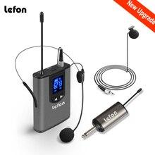 "Lefon UHF אלחוטי אוזניות מיקרופון Lavalier דש מיקרופון עם Bodypack משדר מיני נטענת מקלט 1/4 ""פלט"