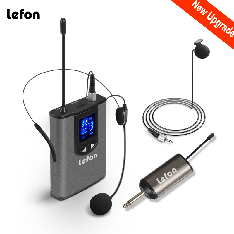 "Lefon UHF Wireless Headset Microphone Lavalier Lapel Mic with Bodypack Transmitter and Mini Rechargeable Receiver 1/4"" Output-in Microphones from Consumer Electronics"