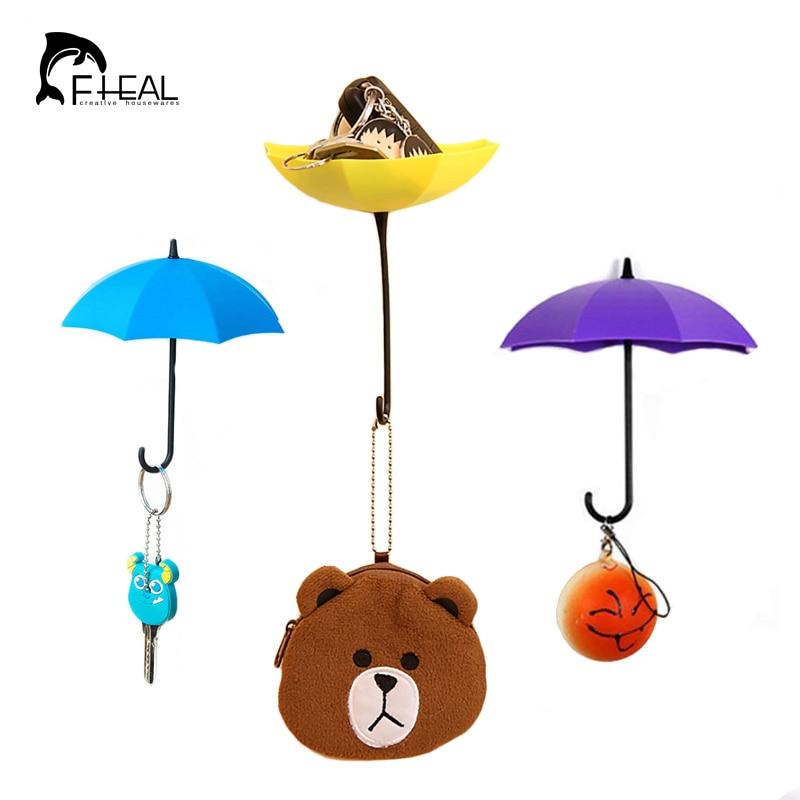 FHEAL 3pcs Creative Free Nail Storage Hook Umbrella Shaped Single ...