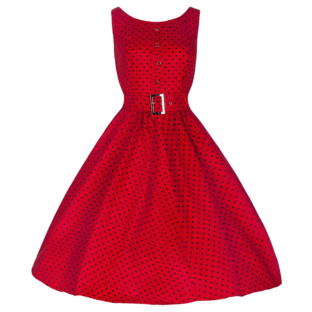 Blooming Jelly Sleeveless Red Polka Dot Belted Swing Dress Single-breasted Tunic Dress Wedding Cocktail Party Vintage Dresses