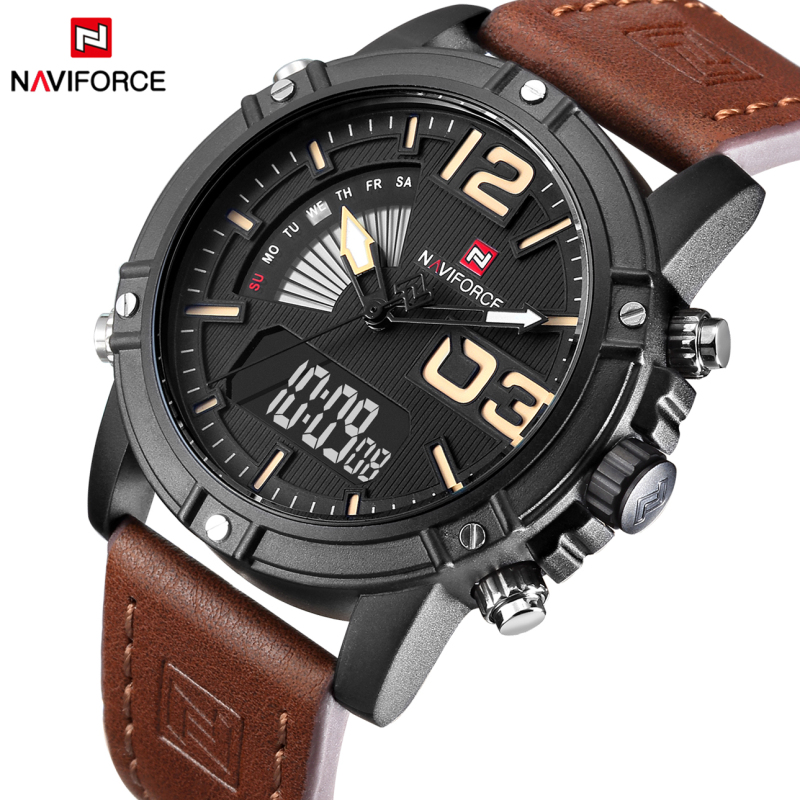 Top Luxury Brand NAVIFORCE Men Sports Watches Men s Leather Quartz Analog LED Clock Male Military