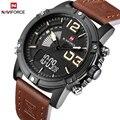 2017 New Luxury Brand NAVIFORCE Relojes Cuero de Los Hombres de Cuarzo Reloj de Hombre Digital Militar Moda Casual reloj de Pulsera Deportivo