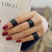 3 pcs ชุด Black Stack Plain Knuckle Band Mini แหวน Punk Rock (China)